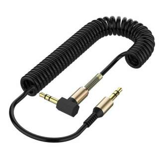 Black Coiled 3.5mm  Cable Mini Jack to Jack Male Audio